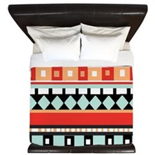 Geometric - Adobe, Turquoise and Brown King Duvet