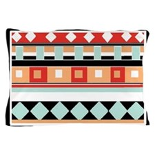 Geometric - Adobe, Turquoise and Brown Pillow Case