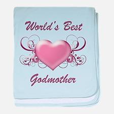 World's Best Godmother (Heart) baby blanket