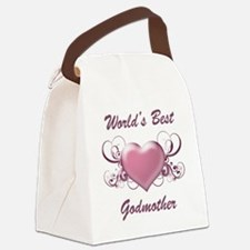 World's Best Godmother (Heart) Canvas Lunch Bag