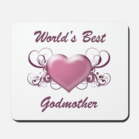 World's Best Godmother (Heart) Mousepad