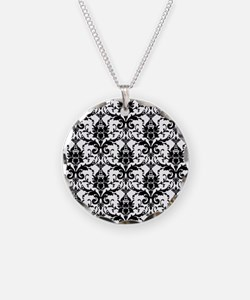 Black White Damask Necklace