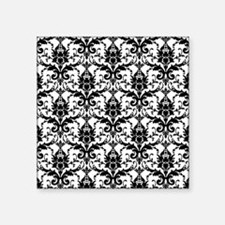 "Black and White Damask Square Sticker 3"" x 3"""