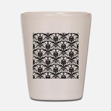 Black and White Damask Shot Glass