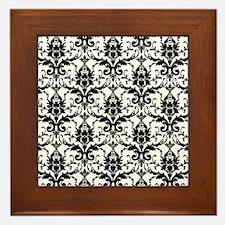Black and White Damask Framed Tile