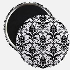Black and White Damask Magnet