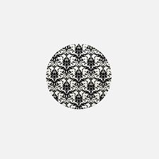 Black and White Damask Mini Button