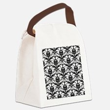 Black and White Damask Canvas Lunch Bag