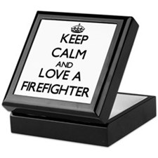 Keep Calm and Love a Firefighter Keepsake Box