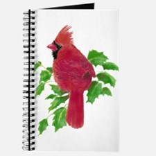 Watercolor Cardinal Bird and Holly Christmas Art J