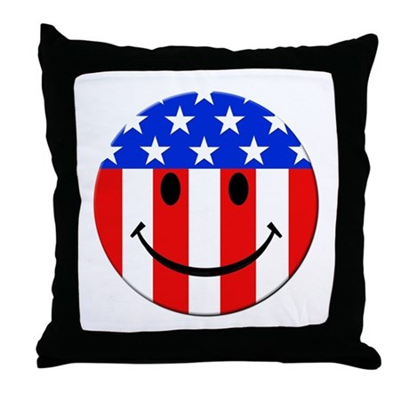 Happy Face Throw Pillow by getteez