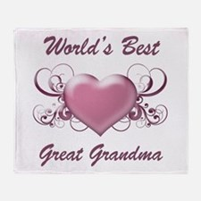 World's Best Great Grandmother (Heart) Throw Blank