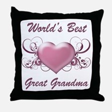 World's Best Great Grandmother (Heart) Throw Pillo