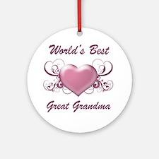 World's Best Great Grandmother (Heart) Ornament (R