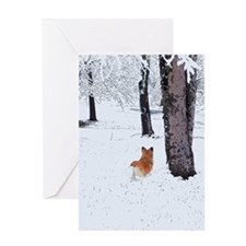 Pembroke Welsh Corgi in the snow Greeting Card