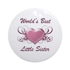 World's Best Little Sister (Heart) Ornament (Round