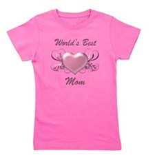 World's Best Mom (Heart) Girl's Tee