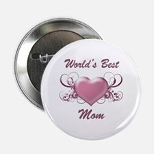 "World's Best Mom (Heart) 2.25"" Button"