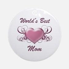 World's Best Mom (Heart) Ornament (Round)