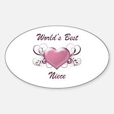 World's Best Niece (Heart) Sticker (Oval)