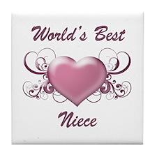 World's Best Niece (Heart) Tile Coaster