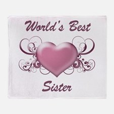 World's Best Sister (Heart) Throw Blanket