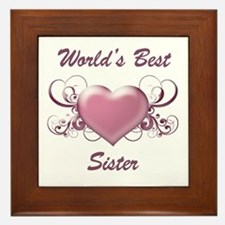 World's Best Sister (Heart) Framed Tile