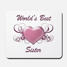 World's Best Sister (Heart) Mousepad