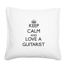 Keep Calm and Love a Guitarist Square Canvas Pillo