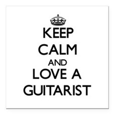 Keep Calm and Love a Guitarist Square Car Magnet 3