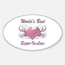 World's Best Sister-In-Law (Heart) Sticker (Oval)