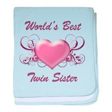 World's Best Twin Sister (Heart) baby blanket