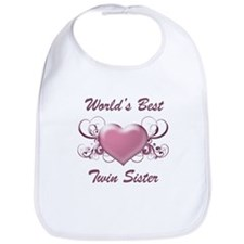 World's Best Twin Sister (Heart) Bib