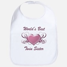 World's Best Twin Sister (Heart) Bib