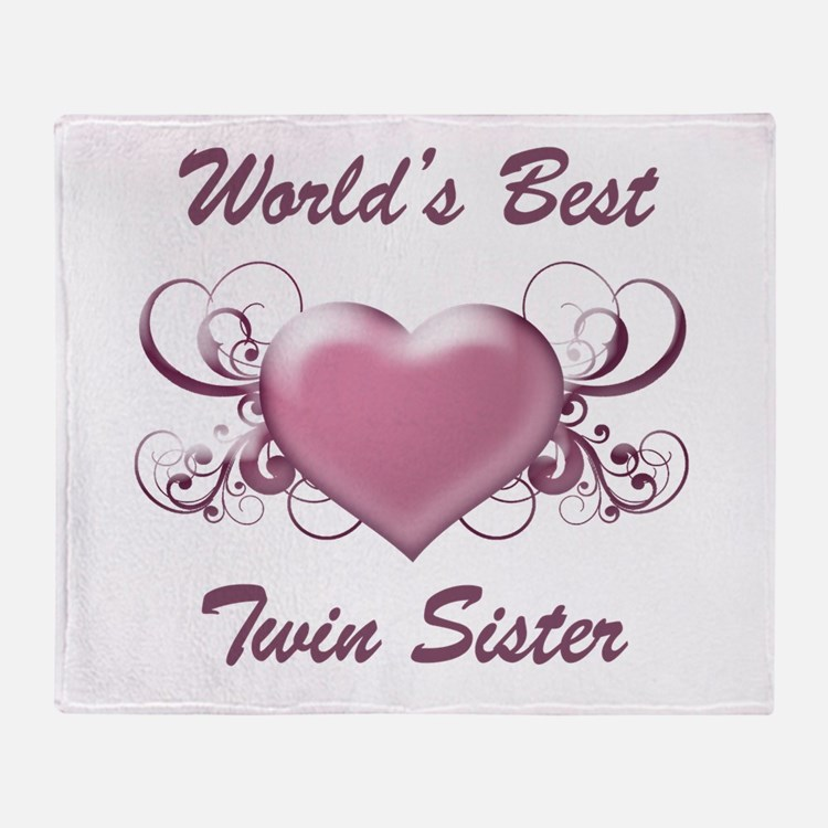 World's Best Twin Sister (Heart) Throw Blanket