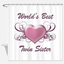 World's Best Twin Sister (Heart) Shower Curtain