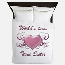 World's Best Twin Sister (Heart) Queen Duvet