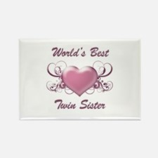 World's Best Twin Sister (Heart) Rectangle Magnet