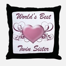 World's Best Twin Sister (Heart) Throw Pillow