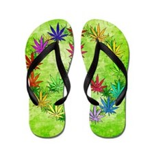 Rainbow Peace Marijuana Leaf Art Flip Flops