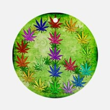 Rainbow Peace Marijuana Leaf Art Ornament (Round)