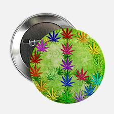 "Rainbow Peace Marijuana Leaf Art 2.25"" Button"