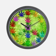 Rainbow Peace Marijuana Leaf Art Wall Clock