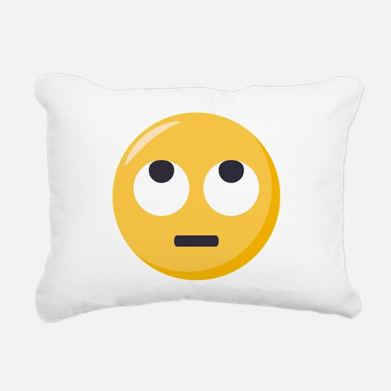 Face with rolling eyes E Rectangular Canvas Pillow