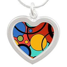 Pop Art Dots Silver Heart Necklace