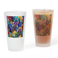 Colorful Painted Guitars Curvy Pian Drinking Glass