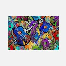Colorful Painted Guitars Curvy Pi Rectangle Magnet