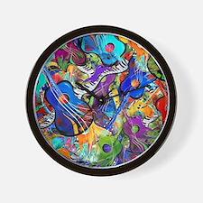 Colorful Painted Guitars Curvy Piano Mu Wall Clock
