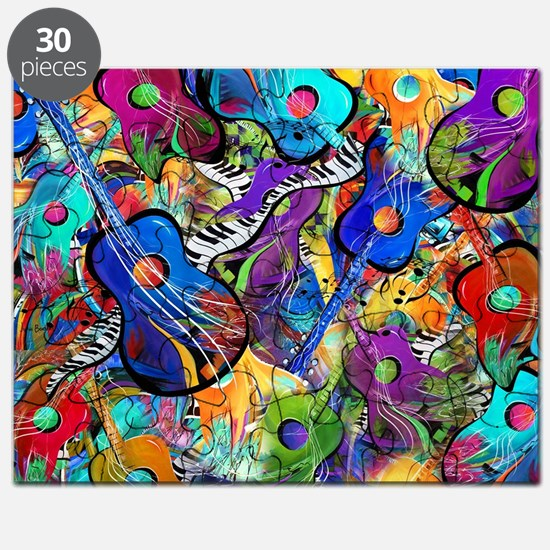 Colorful Painted Guitars Curvy Piano Music  Puzzle