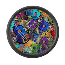 Colorful Painted Guitars Curvy Pi Large Wall Clock